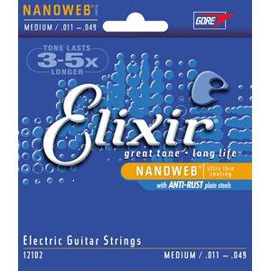 ELIXIR NANOWEB 12102 MEDIUM ELECTRIC NICKEL PLATED STEEL - 11-49