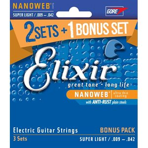 ELIXIR NANOWEB 16542 SUPER LIGHT ELECTRIC NICKEL PLATED STEEL - 9-42 (GET 3 PACKS OF 12002 FOR THE PRICE OF 2)