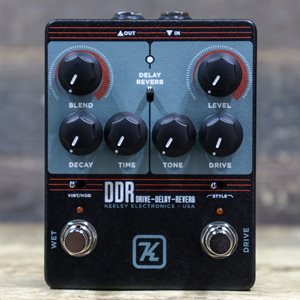 KEELEY ELECTRONICS DDR DRIVE DELAY REVERB TWO-EFFECTS EFFECT PEDAL AVEC BOITE #00056