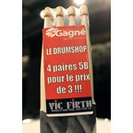 VIC FIRTH AMERICAN CLASSIC 5B WHITE W/MUSIQUE GAGNE LOGO, 4-PACK FOR THE PRICE OF 3