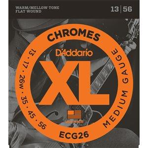 D'ADDARIO ECG26 CHROMES FLAT WOUND, MEDIUM, 13-56
