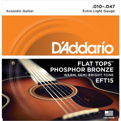 D'ADDARIO EFT15 PHOSPHOR BRONZE FLAT TOPS, EXTRA LIGHT, 10-47
