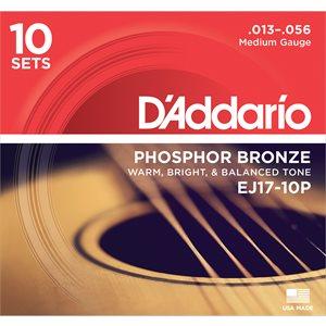 D'ADDARIO EJ17-10P PHOSPHOR BRONZE ACOUSTIC GUITAR STRINGS, MEDIUM, 13-56- 10 PACKS