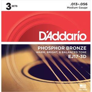 D'ADDARIO EJ17-3D PHOSPHOR BRONZE ACOUSTIC GUITAR STRINGS, MEDIUM, 13-56 - 3 PACKS