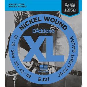 D'ADDARIO EJ21 NICKEL WOUND, JAZZ LIGHT, 12-52