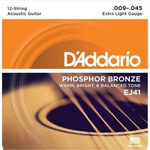 D'ADDARIO EJ4EJ41 PHOSPHOR BRONZE 12 STRING ACOUSTIC GUITAR STRINGS, EXTRA LIGHT, 9-451
