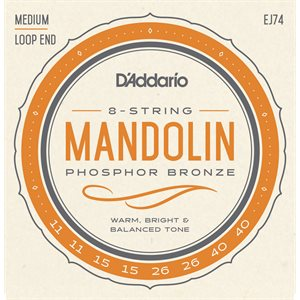 D'ADDARIO EJ74 MANDOLIN, PHOSPHOR BRONZE, MEDIUM, 11-40