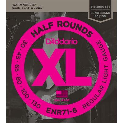 D'ADDARIO ENR71-6 HALF ROUNDS BASS, REGULAR LIGHT, 30-130, LONG SCALE