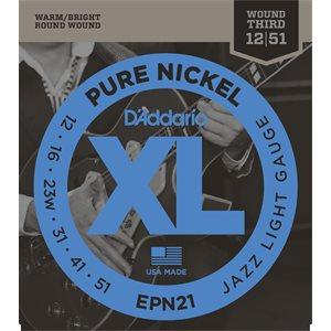 D'ADDARIO EPN21 PURE NICKEL, JAZZ LIGHT, 12-51