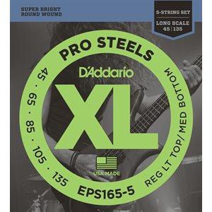 D'ADDARIO EPS165-5 PROSTEELS 5 STRING BASS, CUSTOM LIGHT, 45-135, LONG SCALE