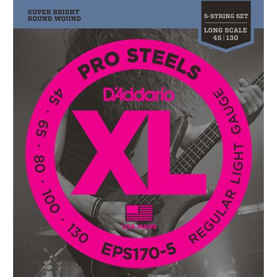 D'ADDARIO EPS170-5 PROSTEELS 5 STRING BASS, LIGHT, 45-130, LONG SCALE