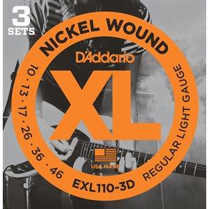 D'ADDARIO EXL110-3D NICKEL WOUND, REGULAR LIGHT, 10-46 - 3 PACKS