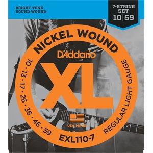 D'ADDARIO EXL110-7 NICKEL WOUND, 7 STRING, REGULAR LIGHT, 10-59