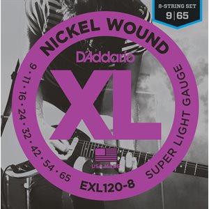 D'ADDARIO EXL120-8 NICKEL WOUND, 8 STRING, SUPER LIGHT, 09-65
