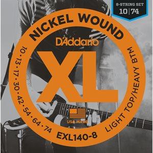 D'ADDARIO EXL140-8 NICKEL WOUND, 8 STRING, LIGHT TOP/HEAVY BOTTOM, 10-74