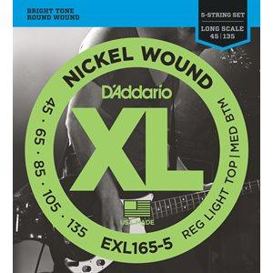 D'ADDARIO EXL165-5 NICKEL WOUND 5 STRING BASS, CUSTOM LIGHT, 45-135, LONG SCALE
