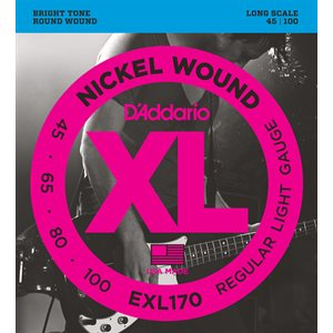 D'ADDARIO EXL170 NICKEL WOUND BASS, LIGHT, 45-100, LONG SCALE