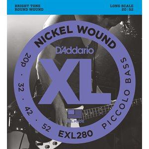 D'ADDARIO EXL280 NICKEL WOUND PICCOLO BASS, 20-52, LONG SCALE