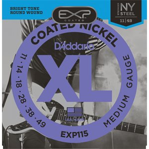 D'ADDARIO EXP115 COATED NICKEL WOUND, MEDIUM/BLUES/JAZZ, 11-49