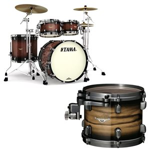 TAMA ME42TZBS-RWB STARCLASSIC MAPLE 4-PIECE EXOTIC RUBY PACIFIC WALNUT BURST BLACK NICKEL HARDWARE (2216BD, 1007T, 1208T, 1616FT)