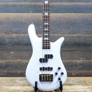 SPECTOR EURO 4 CLASSIC NECK-THRU EMG PICKUPS SOLID WHITE GLOSS ELECTRIC BASS AVEC ÉTUI SOUPLE