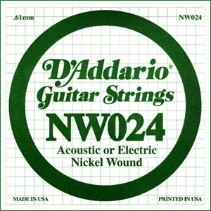 D'ADDARIO NW024 NICKEL WOUND ELECTRIC GUITAR SINGLE STRING .024
