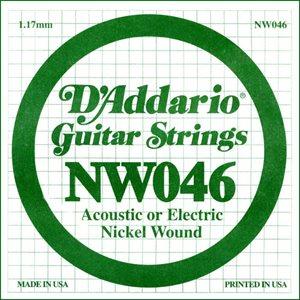 D'ADDARIO NW046 NICKEL WOUND ELECTRIC GUITAR SINGLE STRING .046