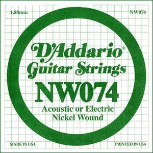 D'ADDARIO NW074 NICKEL WOUND ELECTRIC GUITAR SINGLE STRING .074