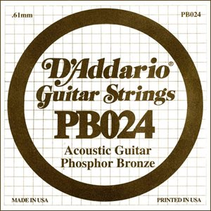 D'ADDARIO PB024 PHOSPHOR BRONZE WOUND ACOUSTIC GUITAR SINGLE STRING .024