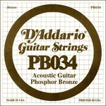 D'ADDARIO PB034 PHOSPHOR BRONZE WOUND ACOUSTIC GUITAR SINGLE STRING .034