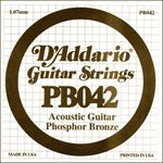 D'ADDARIO PB042 PHOSPHOR BRONZE WOUND ACOUSTIC GUITAR SINGLE STRING .042