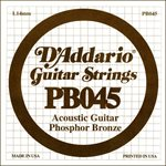 D'ADDARIO PB045 PHOSPHOR BRONZE WOUND ACOUSTIC GUITAR SINGLE STRING .045