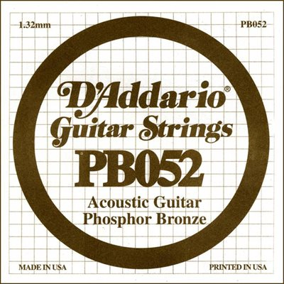 D'ADDARIO PB052 PHOSPHOR BRONZE WOUND ACOUSTIC GUITAR SINGLE STRING .052