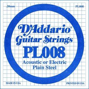 D'ADDARIO PL008 PLAIN STEEL GUITAR SINGLE STRING .008