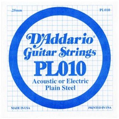 D'ADDARIO PL010 PLAIN STEEL GUITAR SINGLE STRING .010
