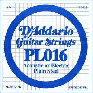 D'ADDARIO PL016 PLAIN STEEL GUITAR SINGLE STRING .016