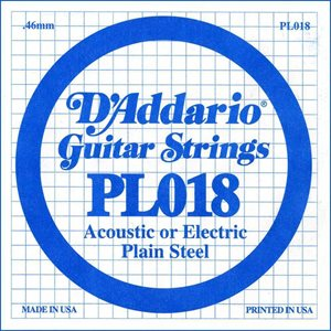 D'ADDARIO PL018 PLAIN STEEL GUITAR SINGLE STRING .018