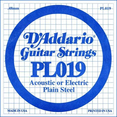 D'ADDARIO PL019 PLAIN STEEL GUITAR SINGLE STRING .019