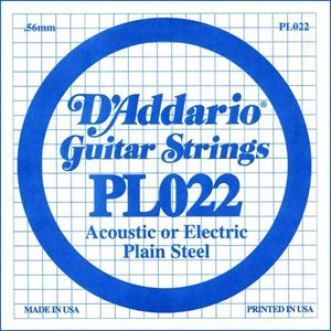 D'ADDARIO PL022 PLAIN STEEL GUITAR SINGLE STRING .022