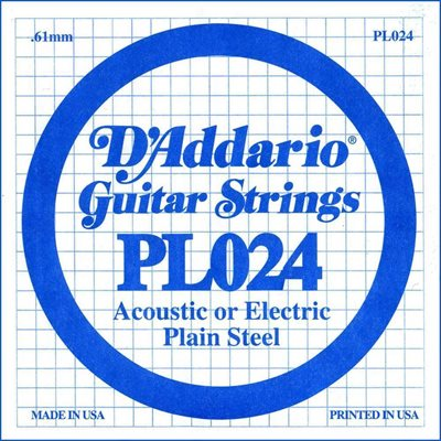 D'ADDARIO PL024 PLAIN STEEL GUITAR SINGLE STRING .024