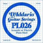 D'ADDARIO PL026 PLAIN STEEL GUITAR SINGLE STRING .026