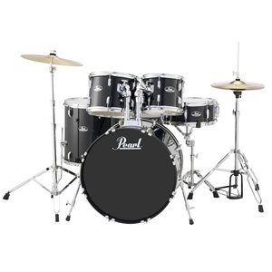 PEARL RS525SCC706 ROADSHOW 5-PIECE CHARCOAL METALLIC W/HARDWARE AND CYMBALS (2216BD, 1008T, 1209T, 1616FT, 1455SD)