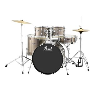 PEARL RS525SCC707 ROADSHOW 5-PIECE BRONZE METALLIC W/HARDWARE AND CYMBALS (2216BD, 1008T, 1209T, 1616FT, 1455SD)