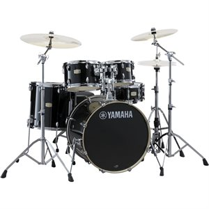 YAMAHA SBX2F56-RB STAGE CUSTOM 5-PIECE RAVEN BLACK W/HARDWARE (2214BD, 1007T, 1208T, 1614FT, 1455SD)